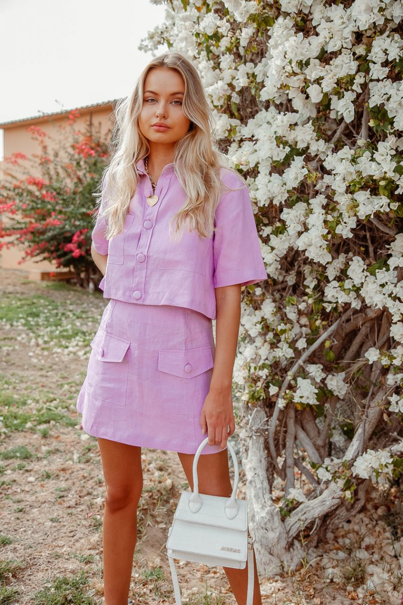 sustainable linen sets lilac purple mini skirt and cropped ladies shirt palm collective reformation Pop Blouse