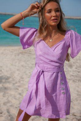 womens ladies Purple wrap dress off the shoulder Mafi Dress