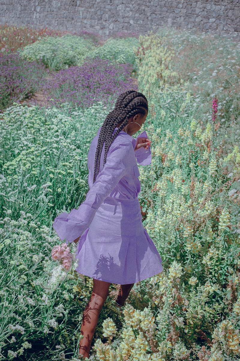 Mini Shirt Dress Ladies short length Shirt Dress Lilac Palm Collective Sustainable Clothing
