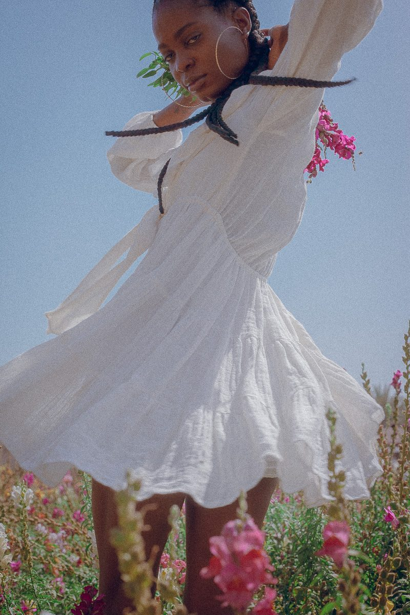 Sabelle Short White Flowy Dress Cheesecloth Cotton Palm Collective the Label