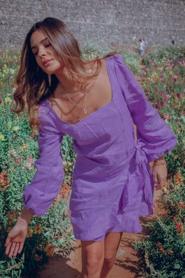 Siren Long Sleeve Mini Dress Violet Lilac Purple Palm Collective