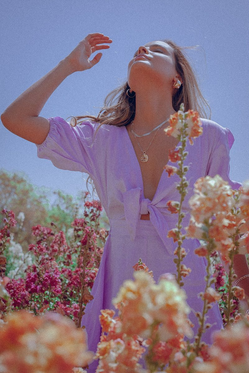 Tie Front Playsuit Lilac 5