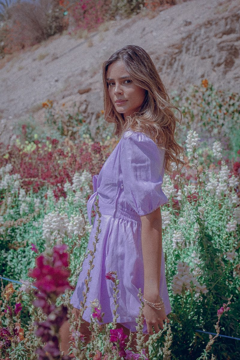 Tie Front Playsuit Lilac Palm Collective Sustainable
