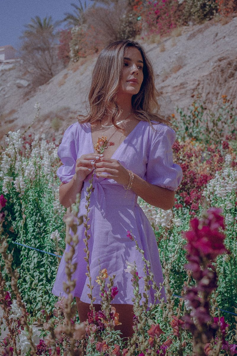 Tie Front Playsuit Lilac Palm Collective