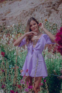 Tie Front Playsuit Lilac Purple Dubai Fashion Boutique