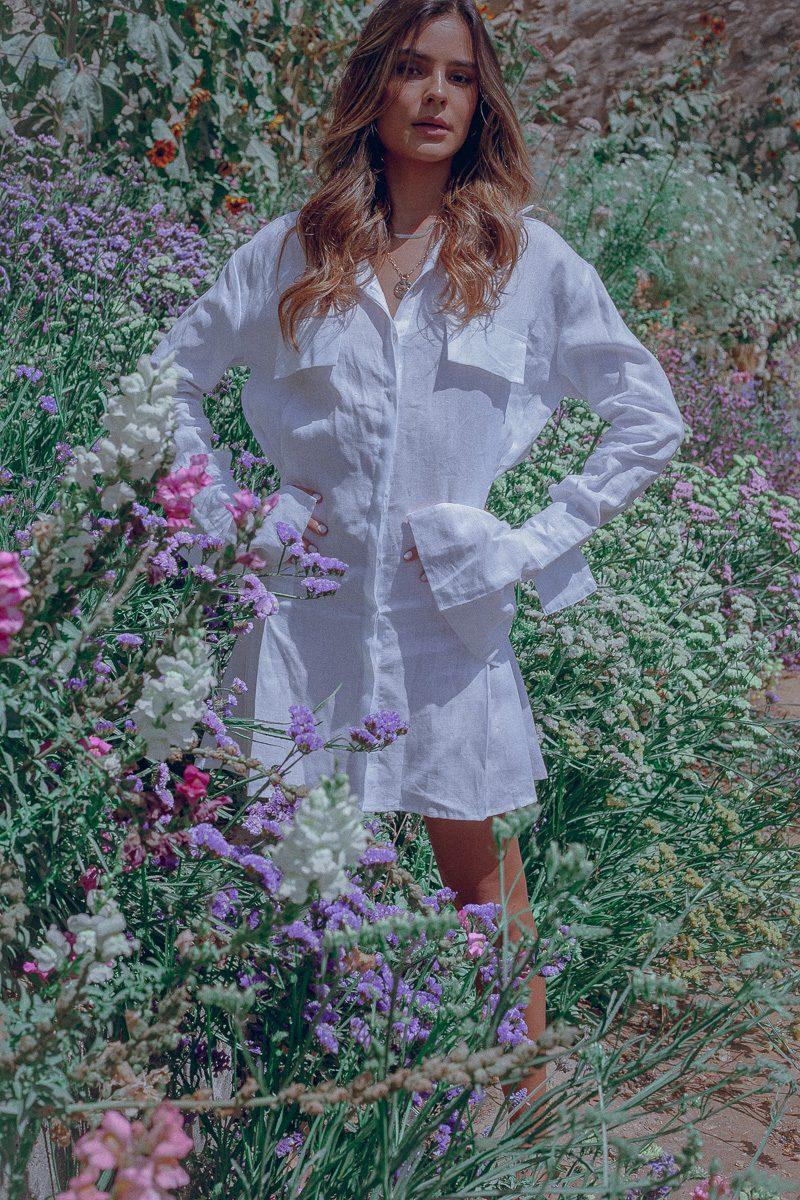 White Shirt Dress - Mila Shirt Dress Palm Collective Sustainable Fashion Brand