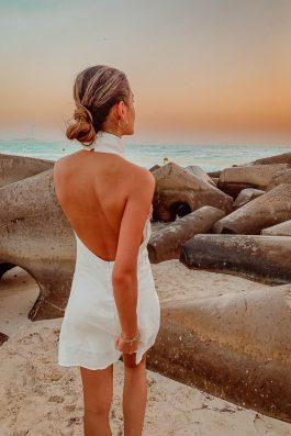 White halter top dress linen summer dress palm collective