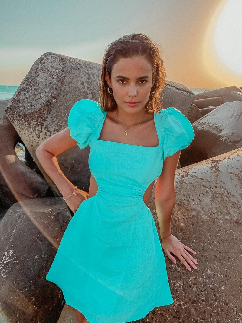 aqua blue summer cut out dress strappy palm collective