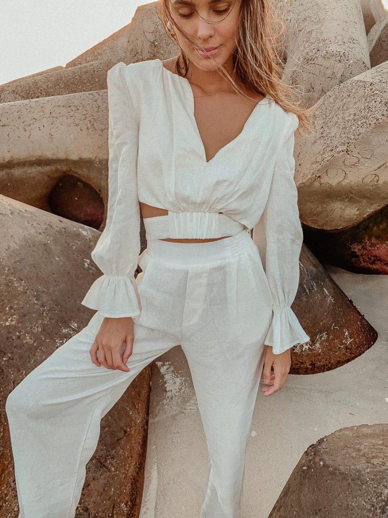 white linen cropped blouse