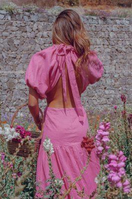 Marcella Dress Pink Side waist cut out maxi dress backless-25