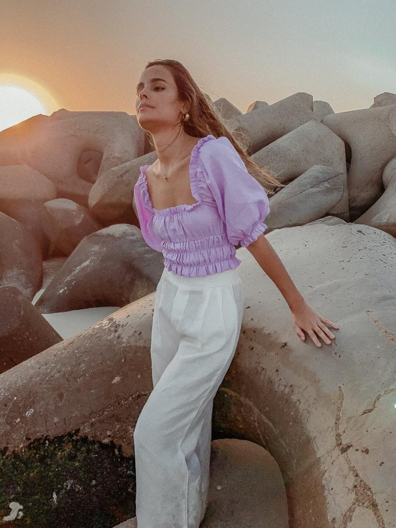 lilac blouse zoe top palm collective