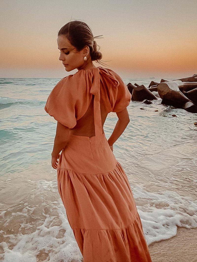 linen maxi dress cut out