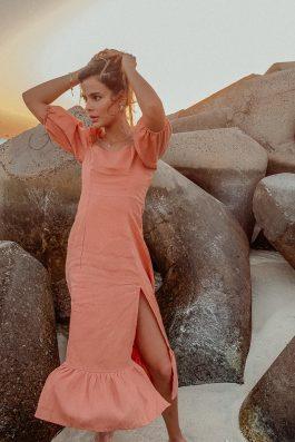 midi length linen summer dress