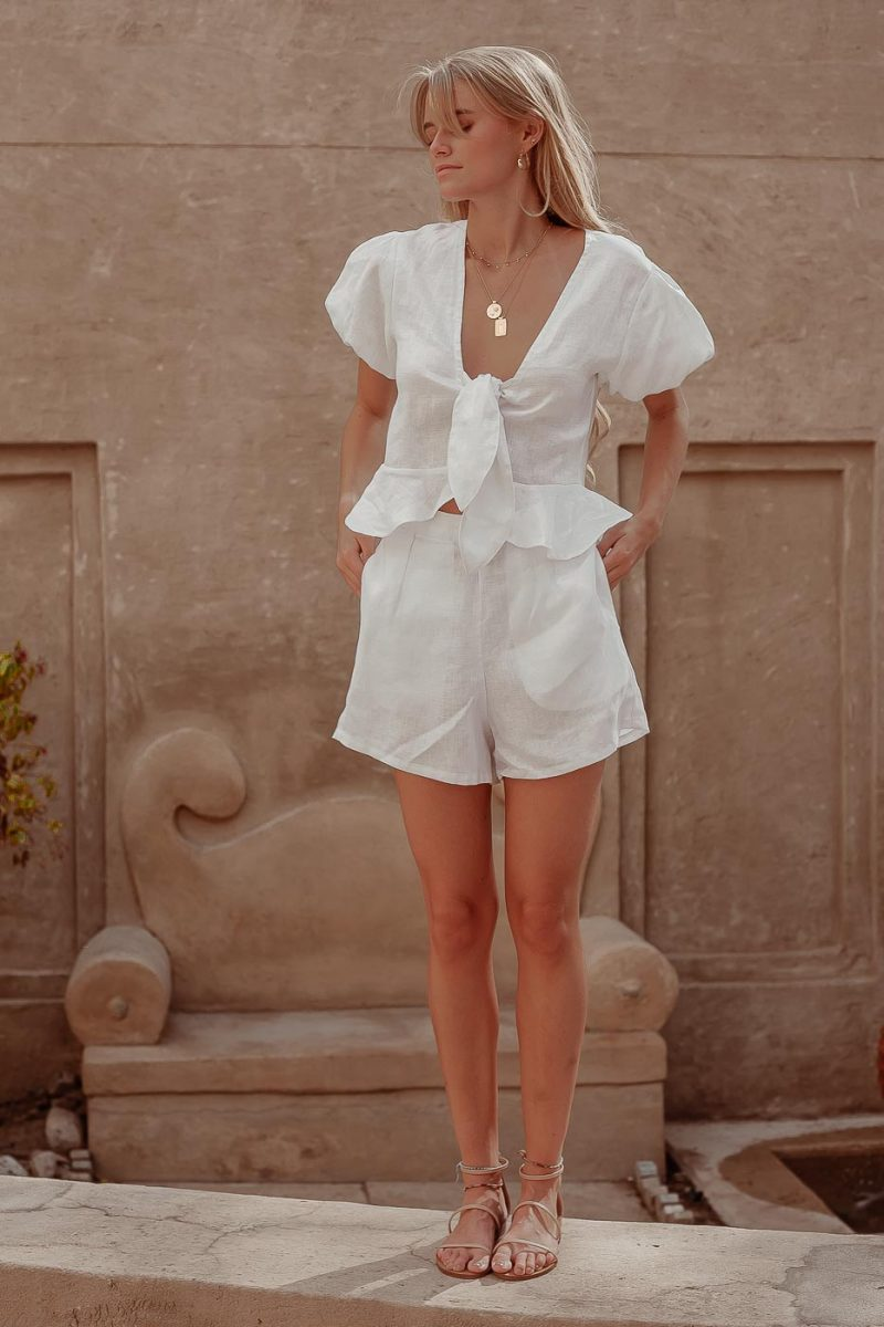 white linen high waisted shorts claudia shorts by palm collective