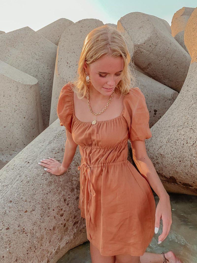 womens baby doll dress thea dress latte brown linen dress
