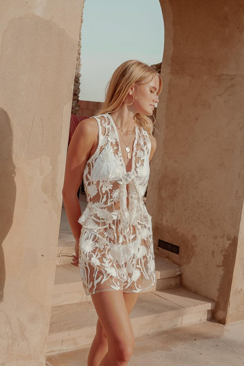 Palmetto White Lace Playsuit Jumpsuit by Palm Collective