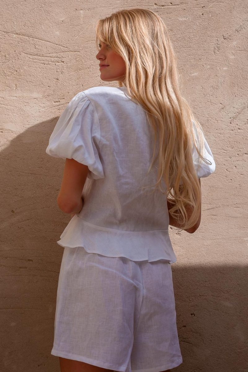 white linen tie front top blouse with puff sleeves Penelope top by Palm Collective