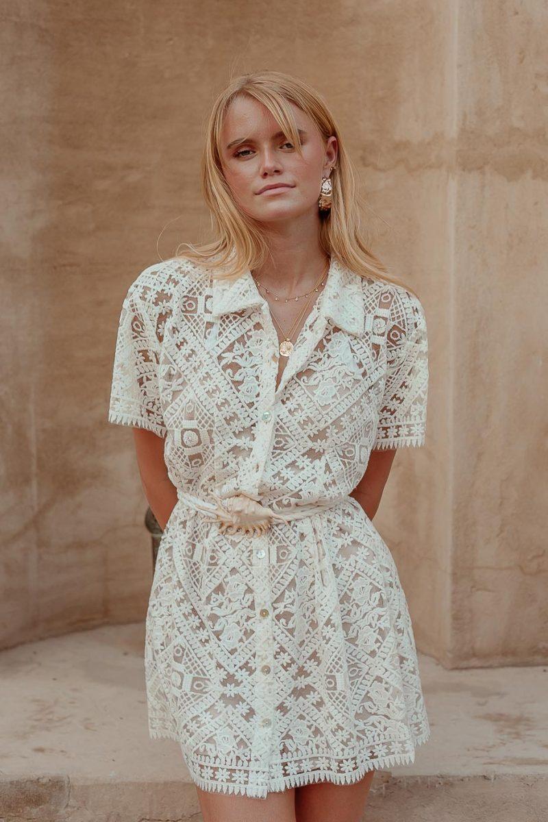 lace shirt dress palm collectiv
