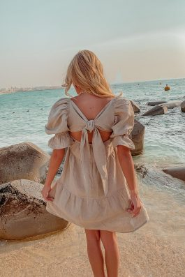 natural linen summer shift dress with sleeves grace dress palm collective