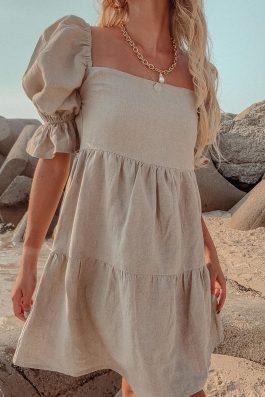 natural linen shift dress
