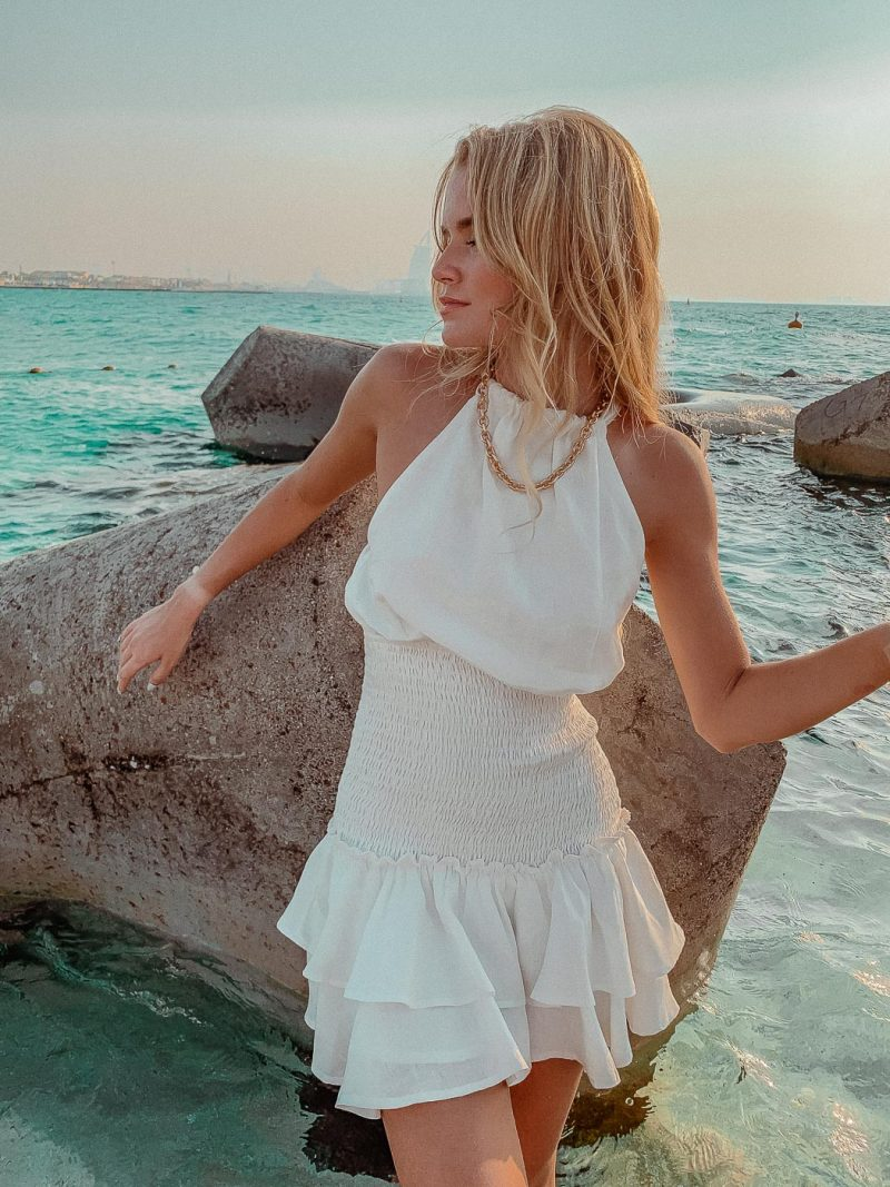 white linen halter neck dress short Isla Dress shirring elastic waist Palm collective