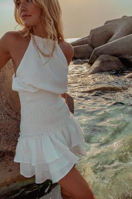 white linen halter neck dress short