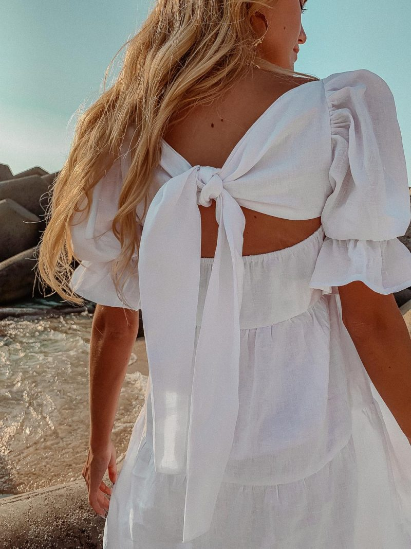 white linen summer shift dress with sleeves grace dress palm collective