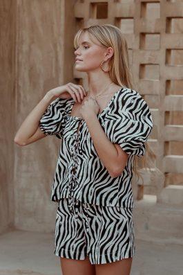 black and white zebra print top